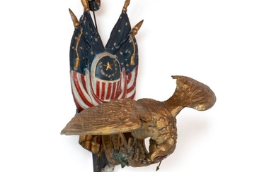 VERY RARE CAST AND POLYCHROME PAINT-DECORATED ZINC SPREAD-WINGED AMERICANA EAGLE WITH PATRIOTIC THEME, CIRCA 1880