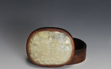 Wood Box with Jade Carving, 19th Century