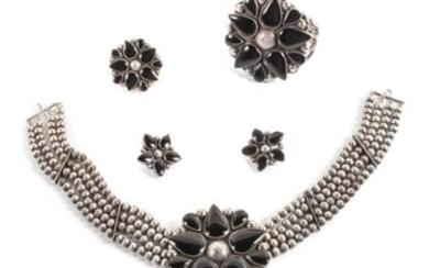 Southwest Style Silver and Onyx Demi Parure