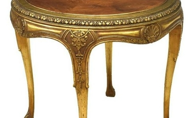 FRENCH PARCEL GILT CIRCULAR SIDE TABLE
