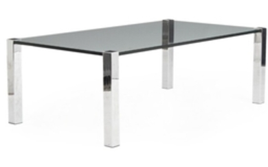 1907/962: Danish furniture design: Rectangular coffee table with chromed steel legs and glass top. H. 49. L. 144. W. 81 cm.