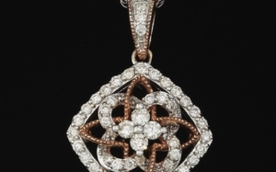 Ladies' Two-Tone Gold Eternity Knot Pendant on Chain