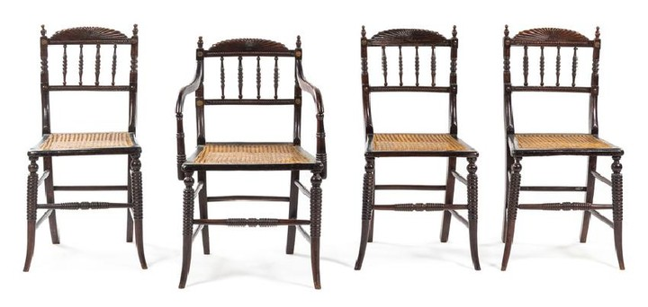 A Set of Four Victorian Turned Oak Game Chairs