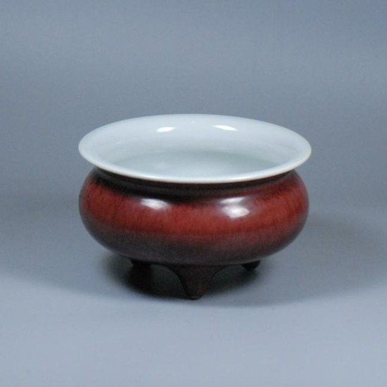 FLAMBE GLAZED PORCELAIN TRIPOD CENSER