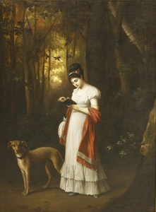 French School, early 19th century A YOUNG WOMAN STANDING READING A BOOK IN A WOOD, HER DOG BESIDE ...