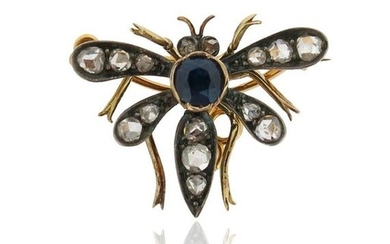 A gem-set insect brooch, set with a circular-cut...