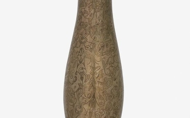 JEAN DUNAND Tall dinanderie vase