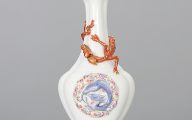Chinese miniature vase in porcelain with coiled dragon, 20th Century.