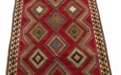 Semi-Antique Hand-Knotted Afshar Carpet
