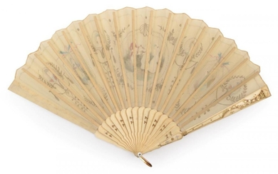 An Early 1900 Century Bone Fan, French, carved and gilded,...