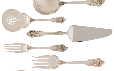A Group of Six Wallace Grand Baroque Pattern Silver Serving Pieces (designed 1941)