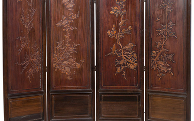 A Chinese Boxwood-Inlaid 4-Fold Screen (19th Century )