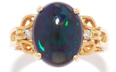 BLACK OPAL AND DIAMOND RING in 14ct yellow gold, set