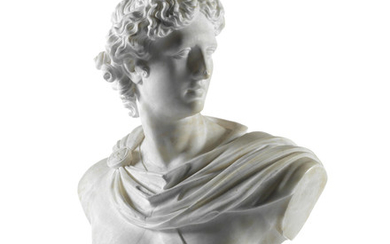 A late 19th century / early 20th century Italian carved white marble bust of the Apollo Belvedere