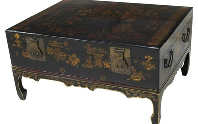 CHINESE BLACK LACQUER FIGURAL TRUNK ON STAND