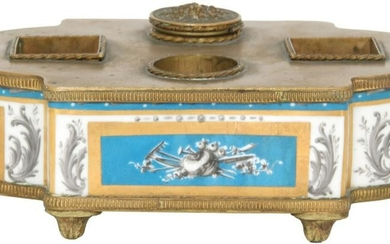 French Porcelain and Bronze Inkwell