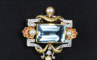 An early 20th century gold and platinum, aquamarine, pearl and plique-a-jour enamel shell brooch.