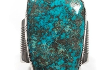 Jerry Roan (Dine, 20th Century) Monumental Silver and Turquoise Cuff
