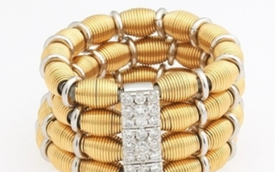 Ladies' Italian Two-Tone Gold and Diamond Stretchable Multi-Strand Ring
