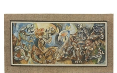 UNKNOWN ARTIST (20th century) MODERNIST SCENE Signed indistinctly 'Remal'...