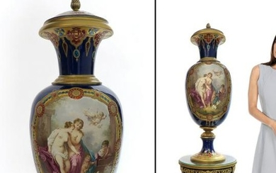 "35"" Large French Sevres porcelain Vase by Simonnet"