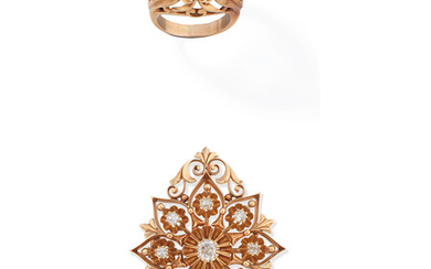 A diamond ring and a diamond pendant/brooch