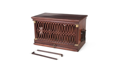 AN EARLY 19TH CENTURY MAHOGANY BIRD CAGE, of recta…