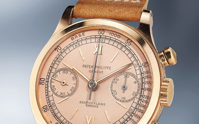 Patek Philippe, Ref. 1463 An incredibly attractive and rare pink gold chronograph wristwatch with pink dial