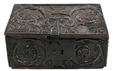 Rare Charles II Carved Oak Lidded Box