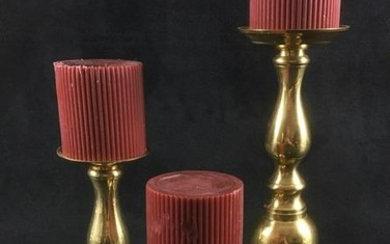 Three Brass Candlesticks and Candles