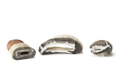 Three whale stamps Carved from whale's teeth, one with...