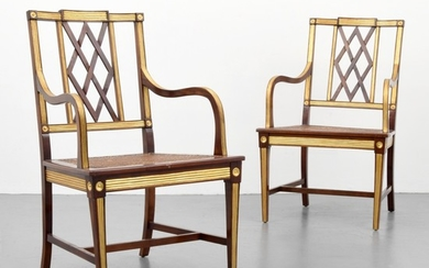 Pair of Neo-Classical Chairs, Gilt Details - unknown