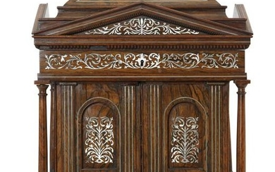 William IV inlaid hardwood ladies table cabinet