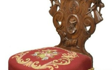 FRENCH WELL-CARVED WALNUT GENTS SMOKING CHAIR