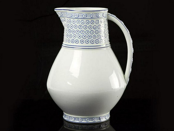 Wedgwood Hand Painted Blue and White Jug 1879