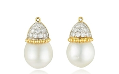 A Pair of South Sea Pearl and Diamond Earring Drops