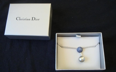 Christian Dior Black Pearl Sapphire & Sterling Pendant