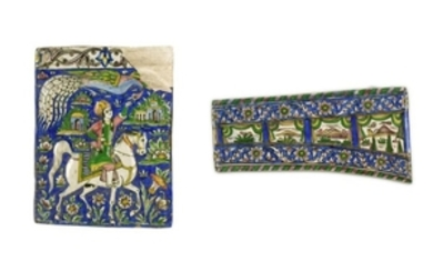 TWO POLYCHROME-PAINTED POTTERY TILES Pahlavi Iran, 20th