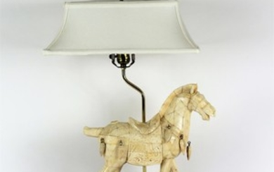 Lot Art Chinese Tessellated Bone Tang Dynasty Style Horse Lamp