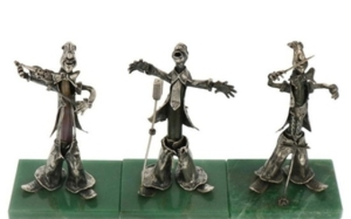 (3) Clown figures on marble plaque silver.