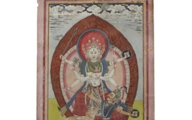 INDIAN SCHOOL A pair of Indian miniatures depicting fearsome...
