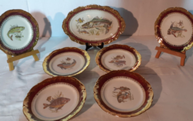7 PC. CONTINENTAL PORCELAIN FISH SERVICE