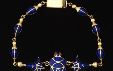 Egyptian Revival Gold, Lapis Lazuli and Carnelian Scarab and Lotus Bracelet