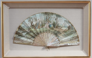 A hand-painted, mother of pearl fan, painted with a scene of...