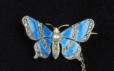 A late Victorian silver and gold, rose-cut diamond and blue enamel butterfly brooch, with pearl highlight.