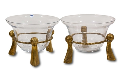 A Pair of Glass Candle Holders