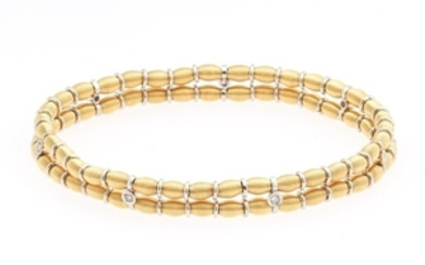 Ladies' Italian Two-Tone Gold and Diamond Stretchable Spring Bracelet