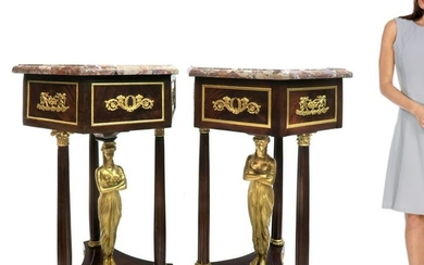 19th C. Pair French Empire Bronze Mounted Pedestals