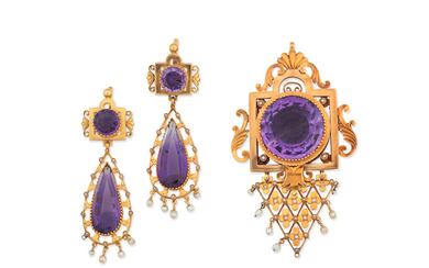 An amethyst and seed pearl brooch/pendant and pendent earring suite,