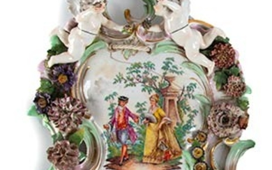 Applique Porcelain sides with very complex shapes; two little angels...